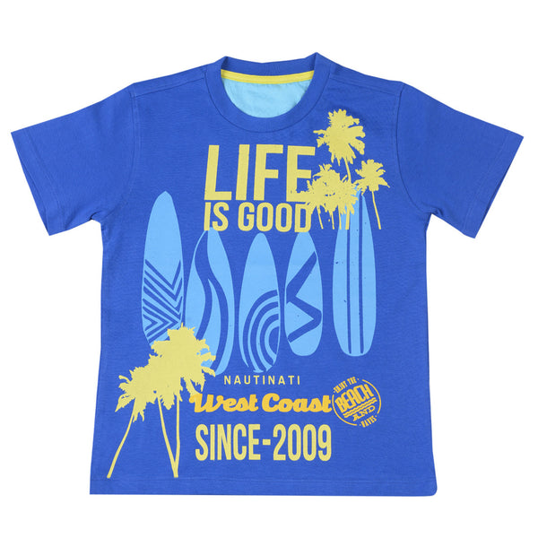 Boys Yellow & Blue Round Neck T-Shirt