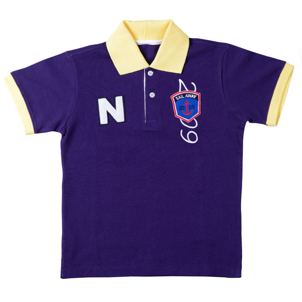 Boys Blue Polo Neck T-Shirt