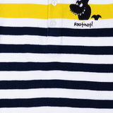 Boys White & Black Striped Polo Neck T-Shirt