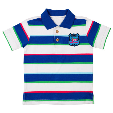 Boys Blue & White Polo Neck T-Shirt