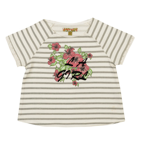 Girls White Striped Top