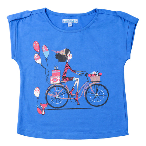 Girls Royal Blue Round Neck Top