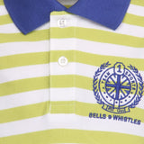 Boys Striped Green Pique Polo