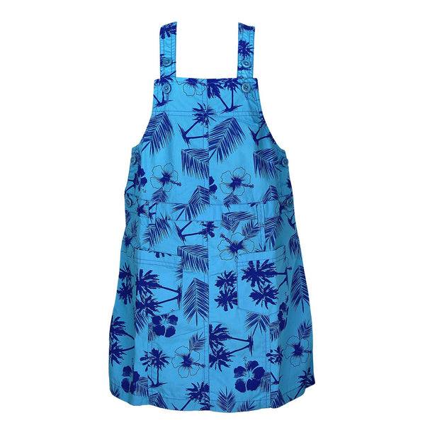 Girls Blue Flower Print Jumpsuit