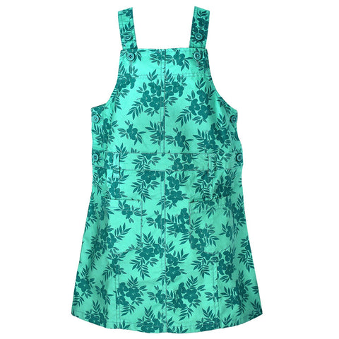 Girls Green Flower Print Jumpsuit