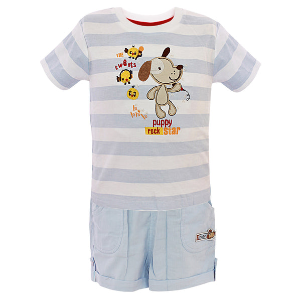 Boys Sky Blue Stripe Top & Bottom Set