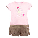 Cotton Printed Pink & Brown Nikkar Set for Girls