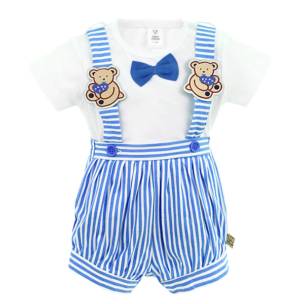 Blue & White Stripes Romper for Boys