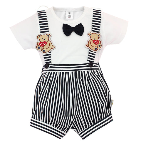 Black & White Stripes Romper for Boys