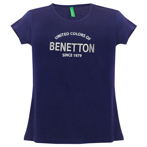 Girls Navy Solid Tees