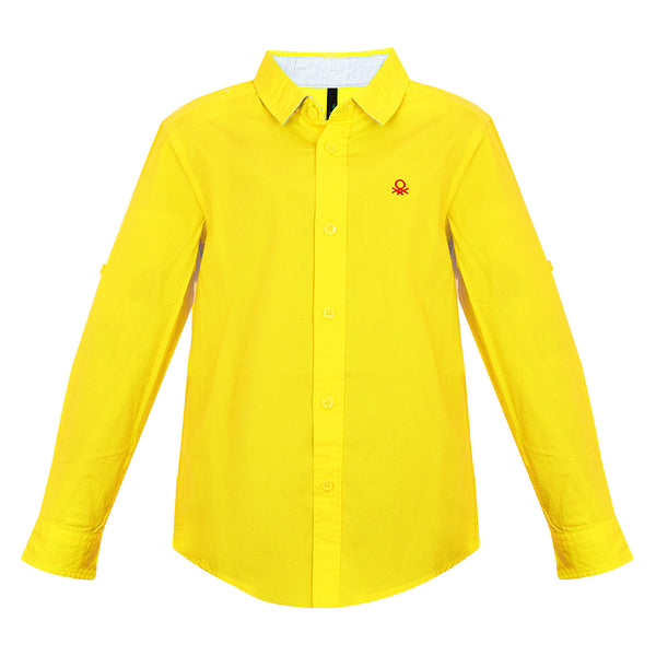 Boys Yellow Solid F/s Shirt