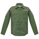 Boys Dark Green F/s Shirt with front two Pockets