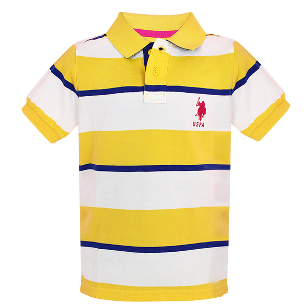 Boys Yellow Stripes Polo Neck Tees