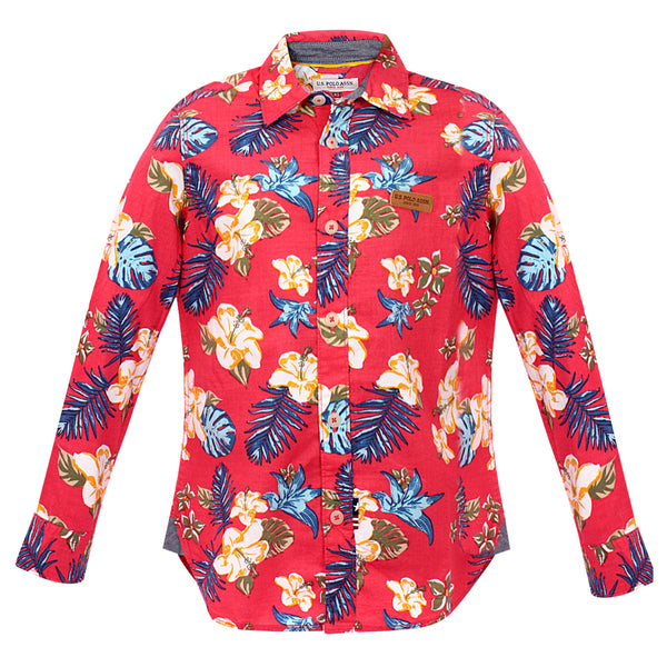 Flowers Printed Boys F/s shirt
