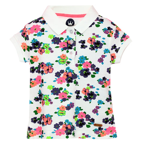 Girls Multi Flowers Printed Polo Neck Top