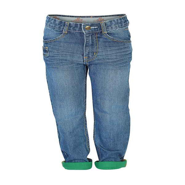 Boys Contrast Fabric Turn UP Bottom Jeans