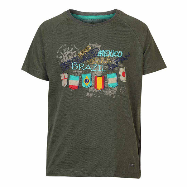 Boys OLIVE GREEN CREW NECK T-SHIRT