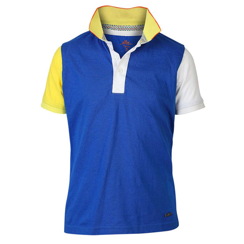 Boys BLUE BLOCK PANEL POLO