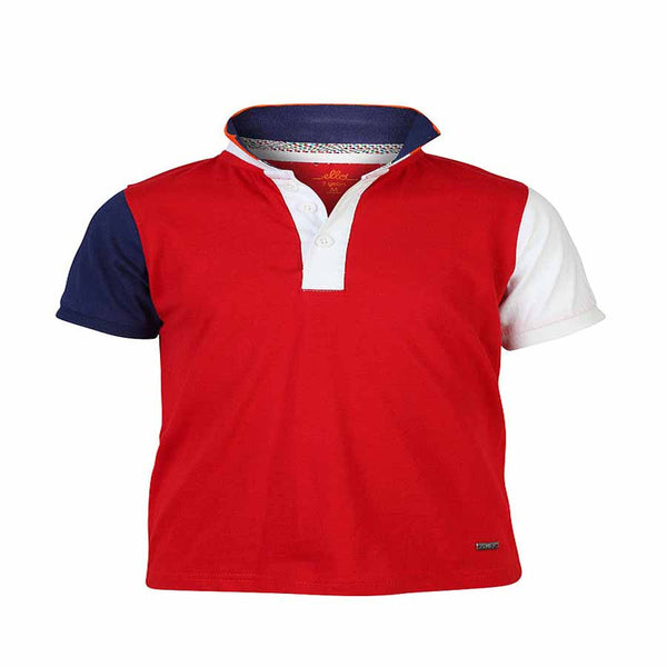 Boys RED BLOCK PANEL POLO T-SHIRT
