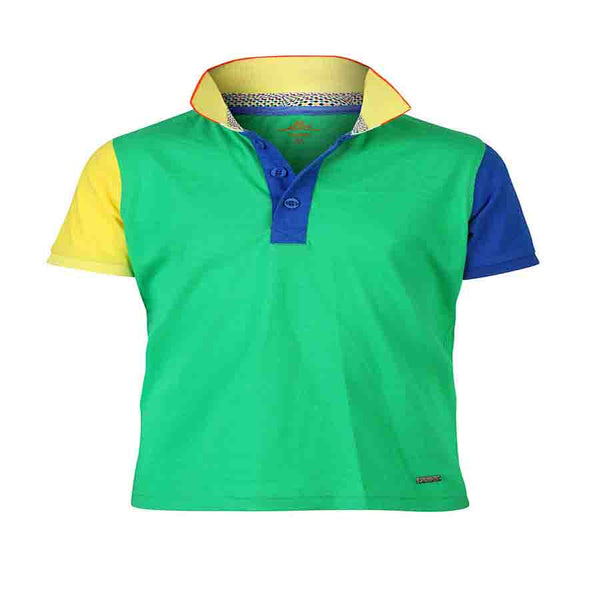 Boys GREEN BLOCK PANEL POLO