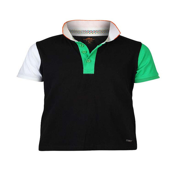Boys BLACK PANEL POLO