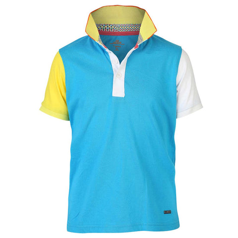 Boys BLUE BLOCK PANEL POLO T-SHIRT