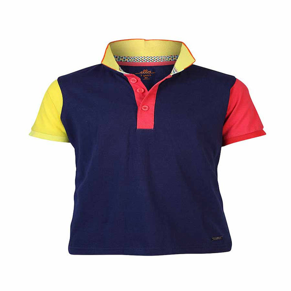 Boys NAVY BLOCK PANEL POLO T-SHIRT