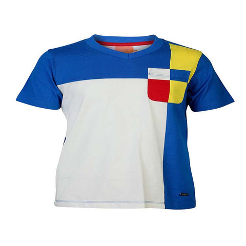 Boys BLUE BLOCK V NECK T-SHIRT