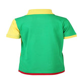 Boys GREEN DUAL COLOUR POLO WITH EXTENDED HEM