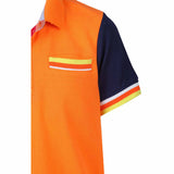 Boys Contrast collar and placket with tipping at cuff