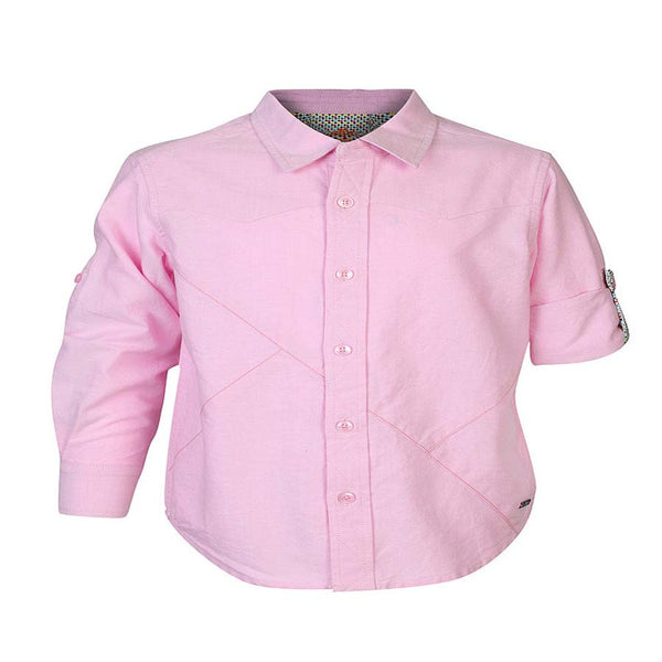 Boys Pink Oxford Shirt With Contrast Stitch lines