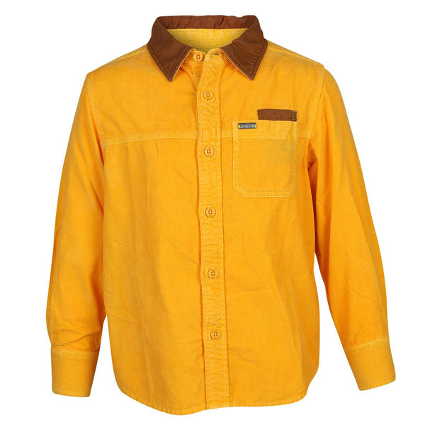 Boys Yellow Corduroy Shirt With Leather Trims