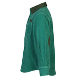Boys Green Corduroy Shirt With Leather Trims