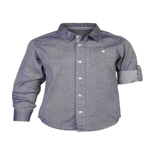 Boys Blue Bedford Cord Shirt with Cowboy Yoke