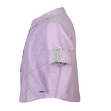 Boys Purple Oxford Shirt With Contrast Stitch Lines