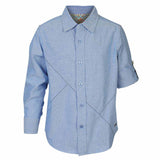 Boys Blue Oxford Shirt With Contrast Stitch Lines