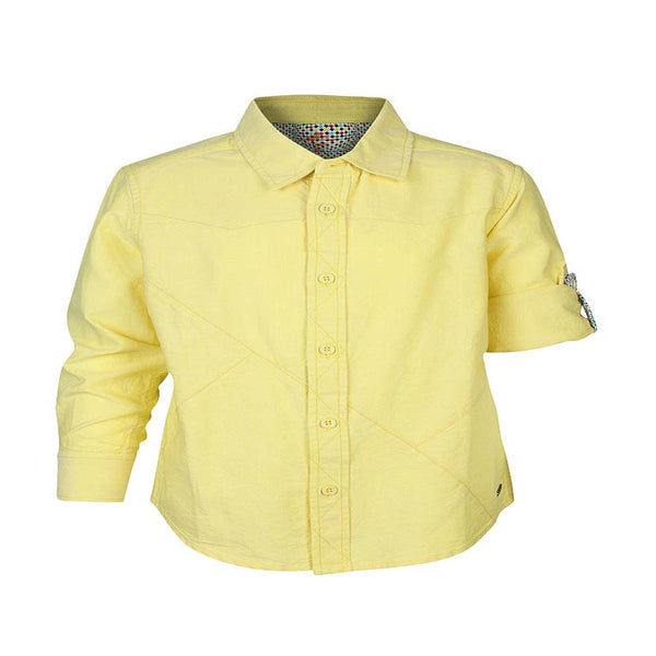 Boys Yellow Oxford Shirt With Contrast Stitch Lines