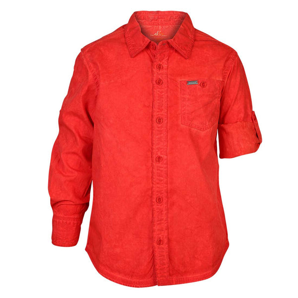 Boys Red CPD Wash Shirt With Epaulets