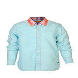 Boys Sky Blue Plain Oxford shirt with Checks Collar