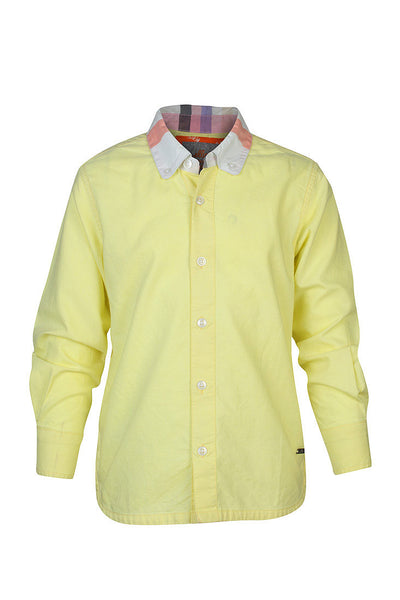 Boys Yellow Plain Oxford shirt with Checks Collar