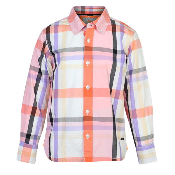 Boys Orange Signature Plaid Shirt with Elbow Patch