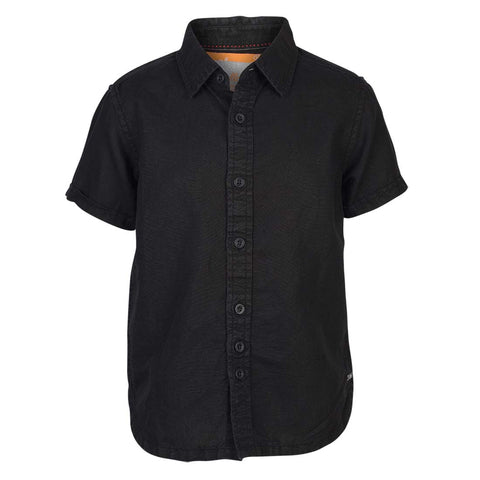 Boys Black Regular Collar Shirt