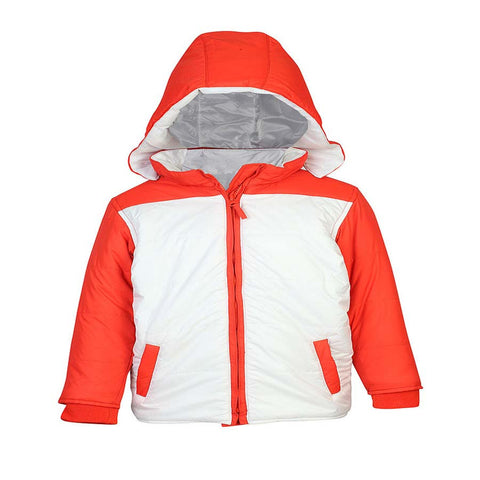 Boys White Color Block Jacket with Detachable hoodie