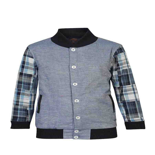 Boys Blue Cut and Sew Contrast Sleeve Jacket