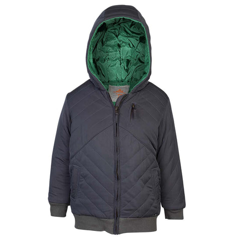 Boys Grey Quilted  Jacket with Contrast Inner Lining