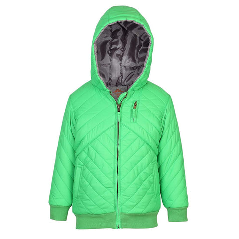 Boys Green Quilted  Jacket with Contrast Inner Lining