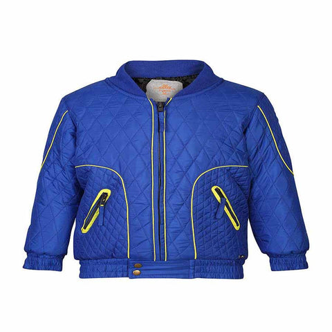 Boys Blue Quilted Jacket with differential Quilt Spacing