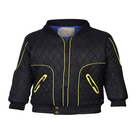 Boys Black Quilted Jacket with differential Quilt Spacing