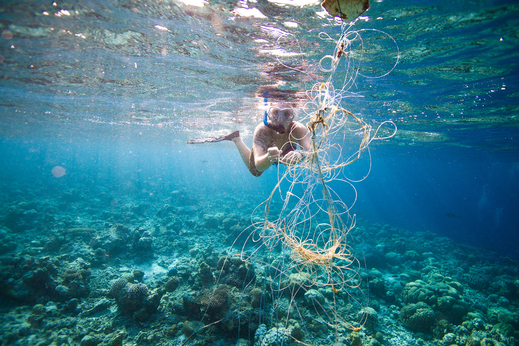 "Fishing line and ""ghost nets"" in the reefs and on beaches are dangerous for flora/fauna and humans"