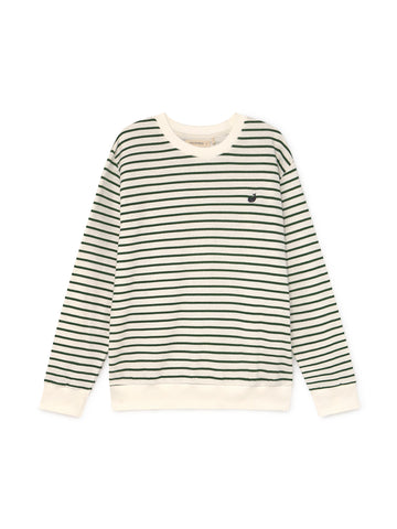 TWOTHIRDS Mens Sweat: Addu - white and green stripes - product close up front